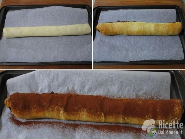 Rotolo di pasta sfoglia alla Nutella 3