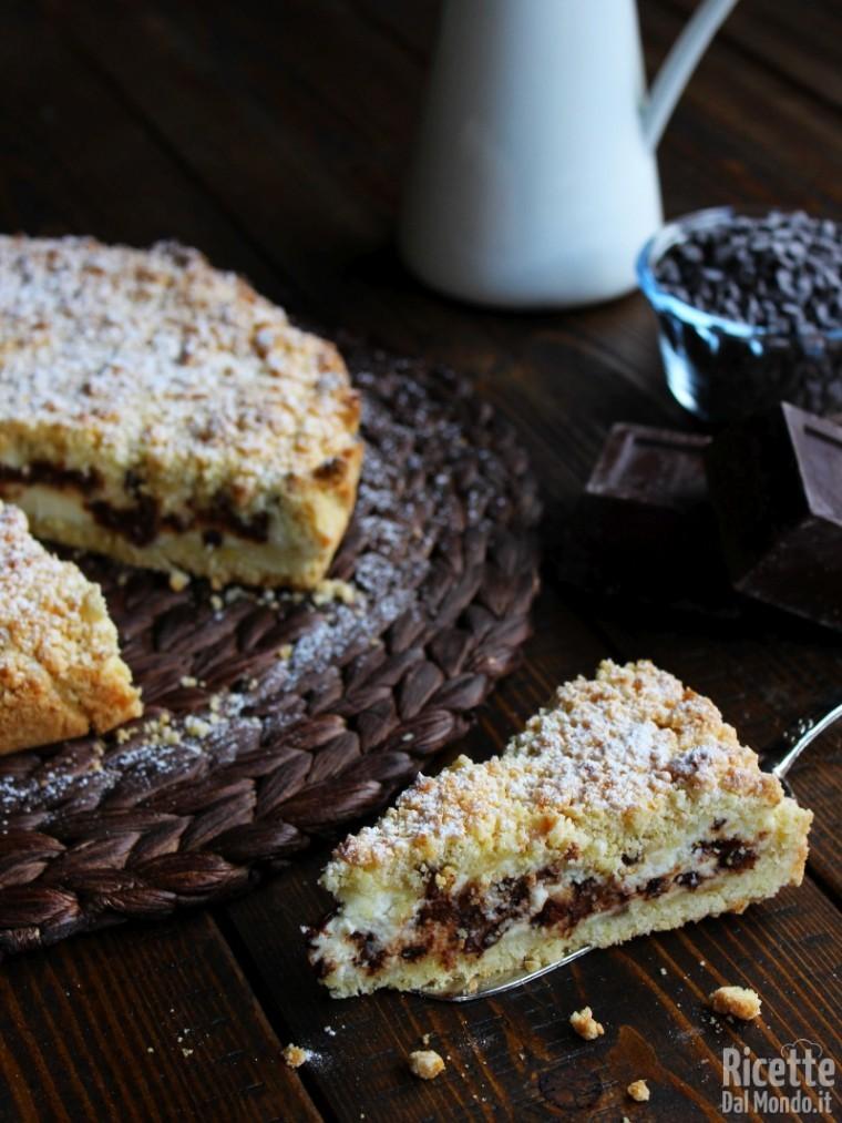 Torta sbriciolata alla ricotta e cioccolato