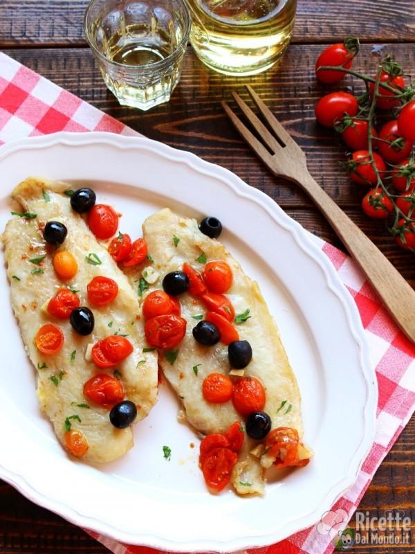 Filetti di persico con pomodorini al vino bianco