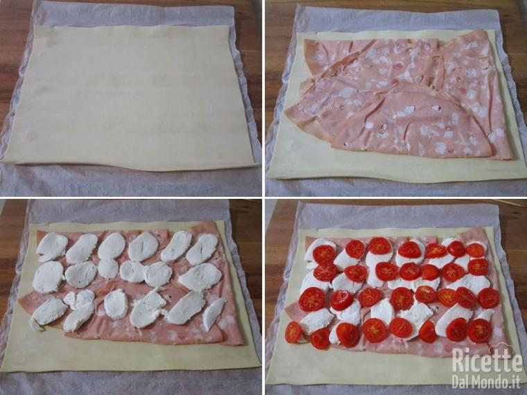 Strudel salato di pasta sfoglia con mortadella 2