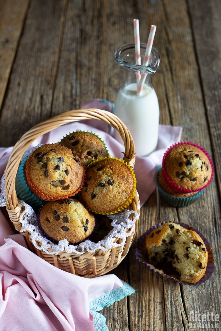 Ricetta muffin con gocce di cioccolato