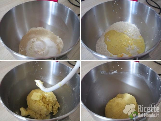 Riunite e lavorate con gli ingredienti secchi, poi il burro
