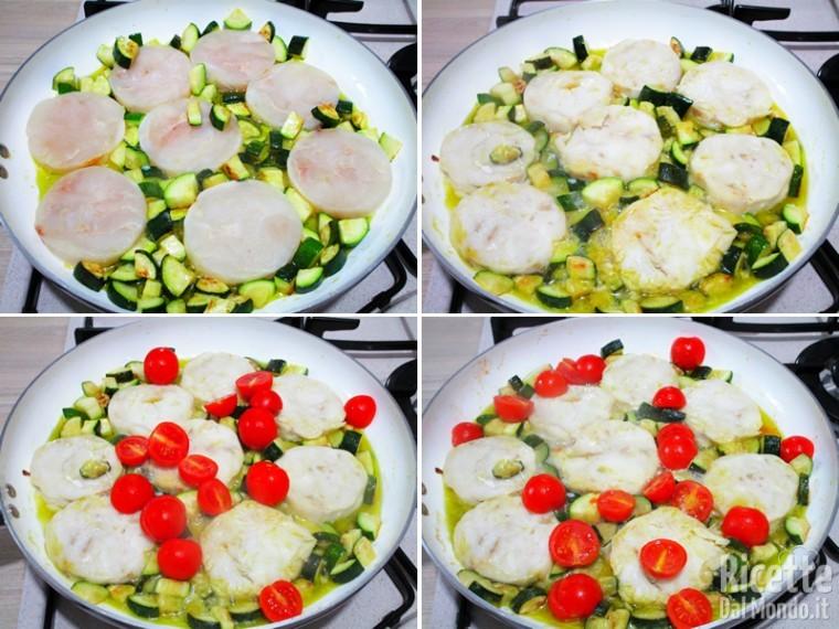 Merluzzo in padella con zucchine e pomodorini 4