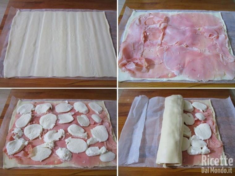 Pizza arrotolata con prosciutto e mozzarella 2