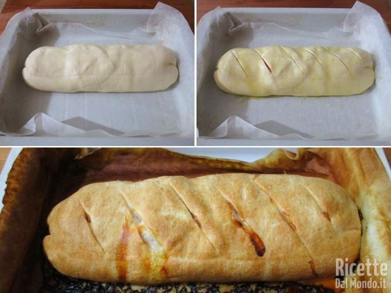 Pizza arrotolata con prosciutto e mozzarella 4