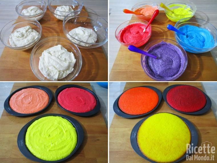 Colorate l'impasto e cuocete le torte