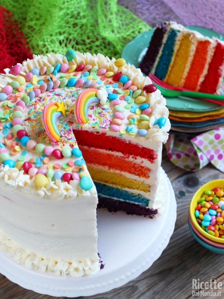 Rainbow cake, ricetta con tutorial in italiano