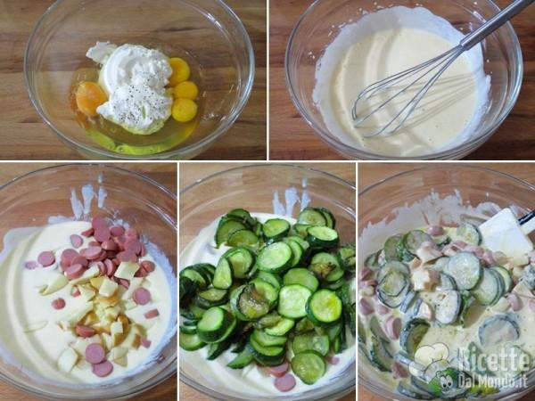 Torta rustica con zucchine e wurstel 4