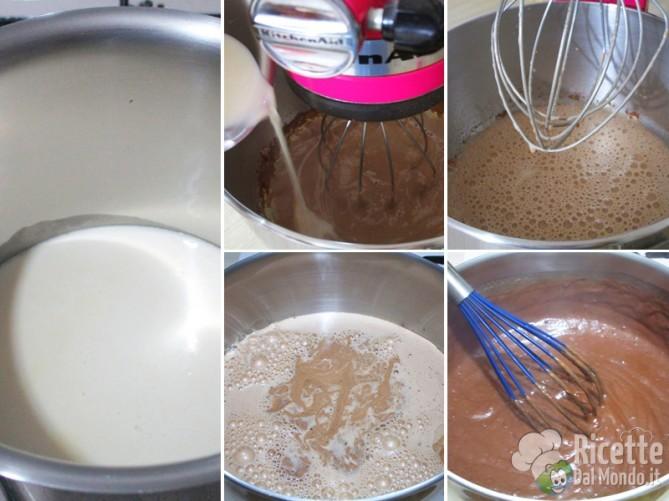 Unire il latte a filo, poi addensare la crema sul fuoco