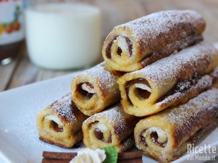 Ricetta french toast roll ups alla Nutella
