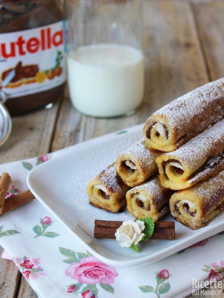 Come fare i french toast roll ups alla Nutella