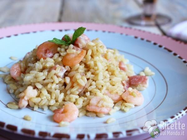 Ricetta riso integrale con gamberi e pancetta