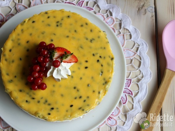 Cheesecake al mango e curd al maracujia