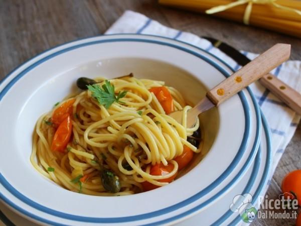 Ricetta spaghetti con pomodorini gialli