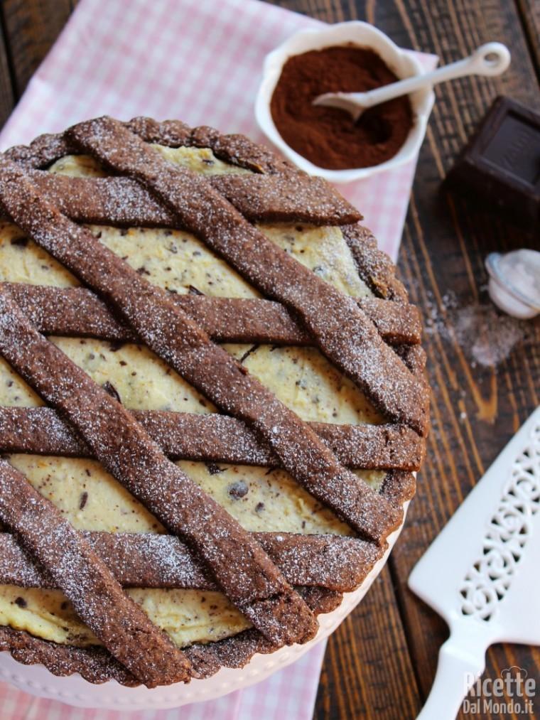 Crostata di ricotta e cioccolato in scaglie