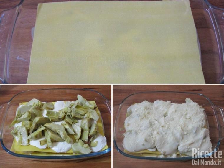 Lasagna in bianco con carciofi e mozzarella 4