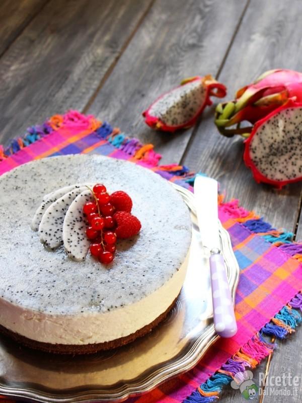 Cheesecake con la pitaya senza cottura