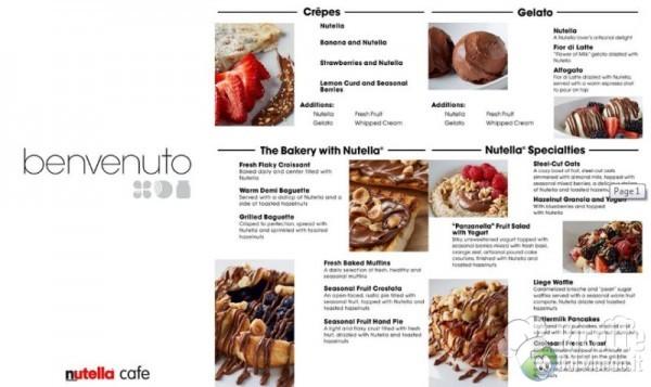 Nutella Cafè il menù