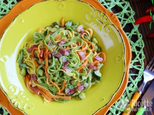 Ricetta tagliolini colorati con zucchine e speck
