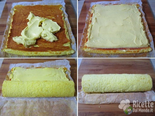 Rotolo di pasta biscuit con crema pasticcera al limone 7
