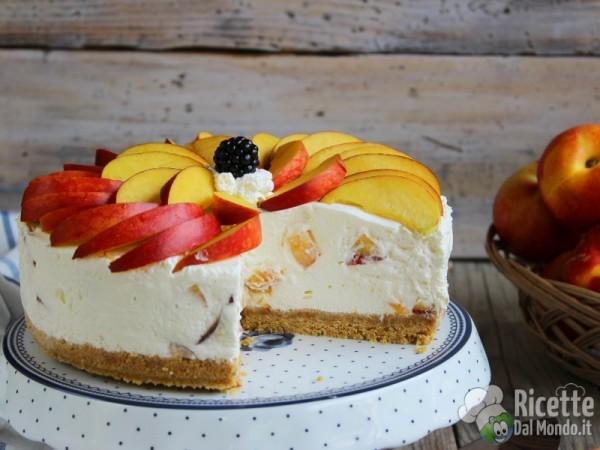 Ricetta senza cottura cheesecake alle pesche e yogurt