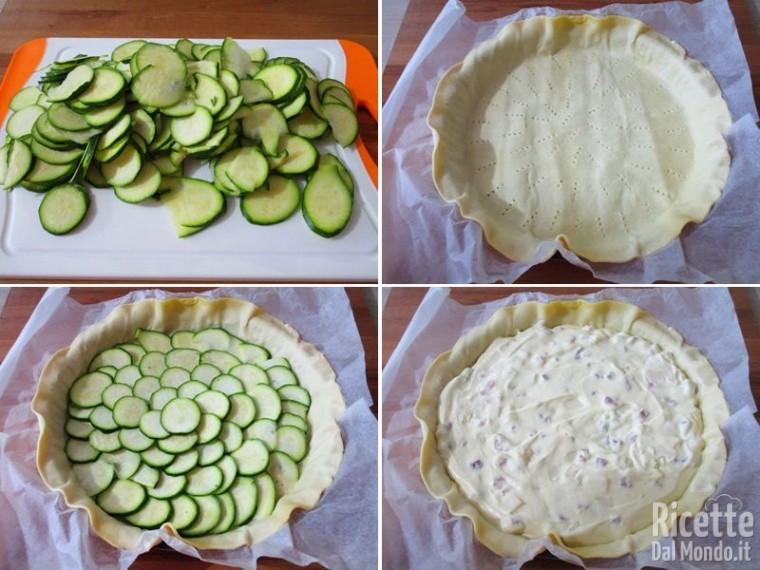 Crostata di pasta brisè con zucchine e bacon 6