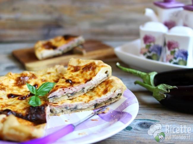 Ricetta Torta salata di melanzane e prosciutto cotto