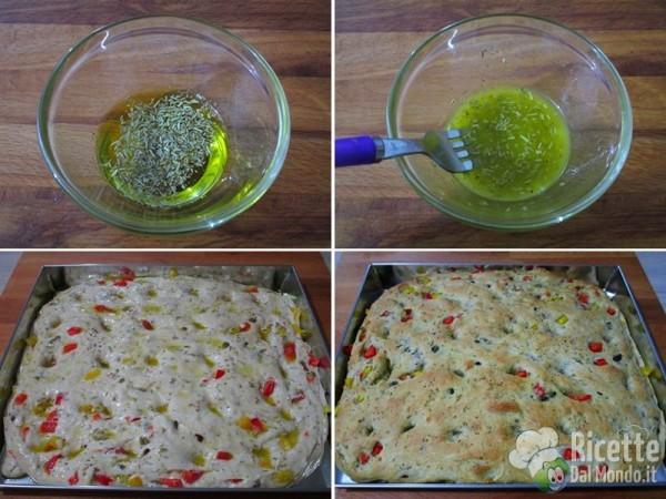 Focaccia soffice con peperoni, olive e capperi 7