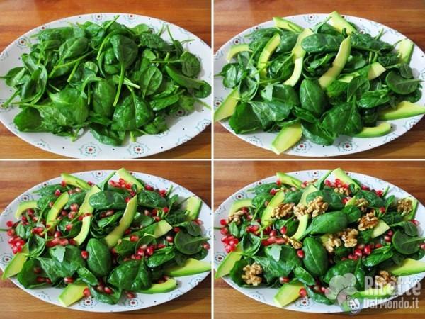 Insalatina di spinacini avocado e melagrana 4