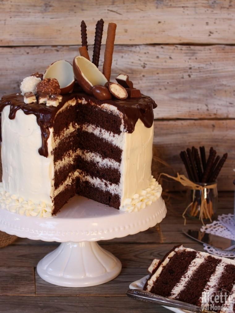 Drip cake al cioccolato kinder