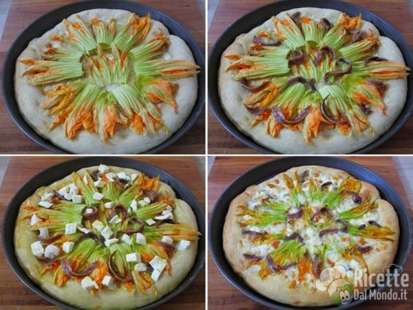 Pizza fatta in casa con fiori di zucca e alici 5