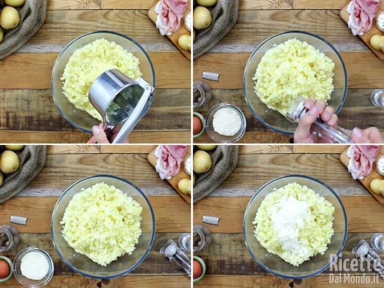 Polpettone di patate con prosciutto e provola 3