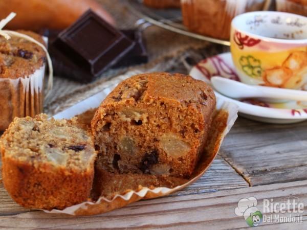 Ricetta tortine integrali pere e cioccolato