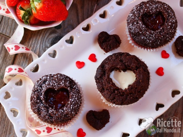 Ricetta cupcake con cuore di confettura