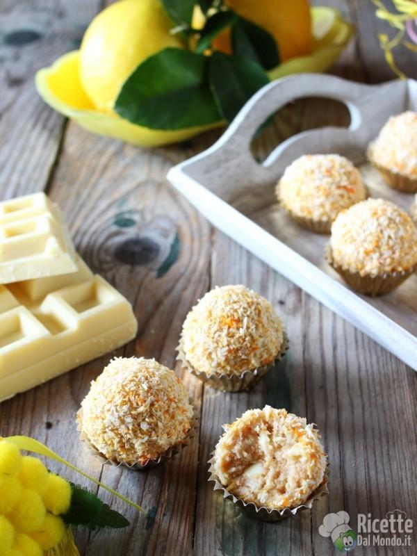 Ricetta tartufini mimosa cocco e limone