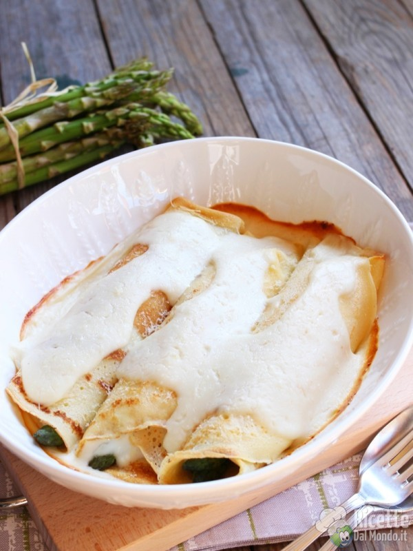 Come fare i cannelloni di crepes agli asparagi