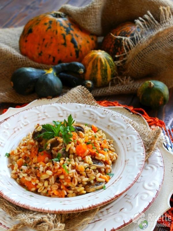 Ricetta riso ai 5 cereali con zucca e funghi
