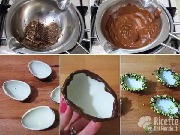 Ovetti di cioccolato ripieni di crema alla cassata 3