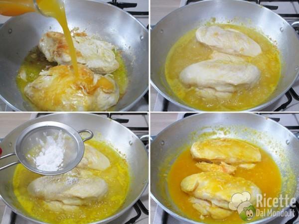Petto di pollo in padella con succo di arancia 4