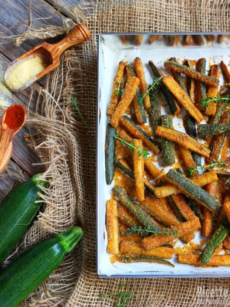 Bastoncini di zucchine al forno impanati