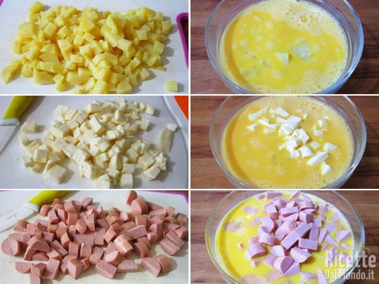 Frittata di wurstel, patate, mozzarella 3