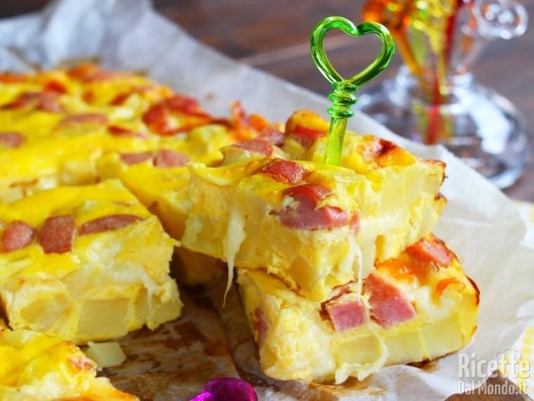 Frittata di wurstel, patate, mozzarella 5