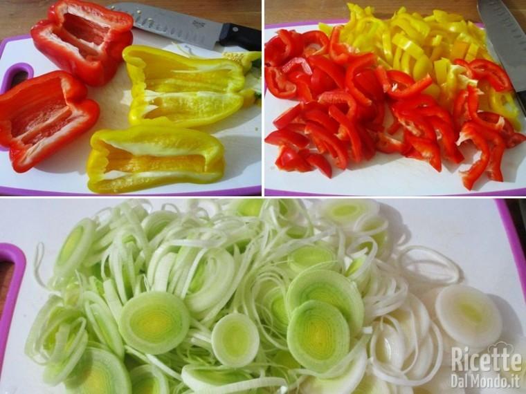 Torta salata con porri, peperoni e fontina 2