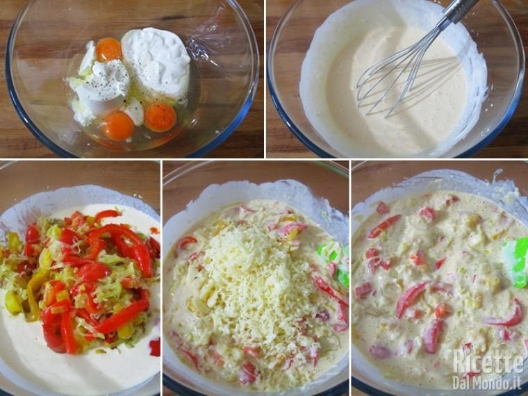 Torta salata con porri, peperoni e fontina 4