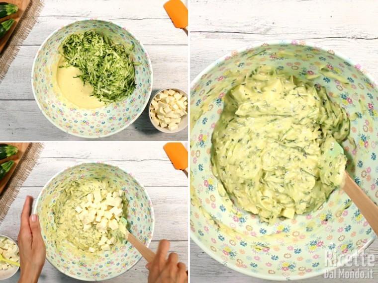 Aggiungere zucchine e mozzarella