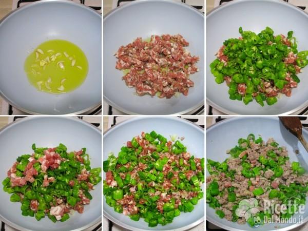 Cuocere salsiccia e peperoncini