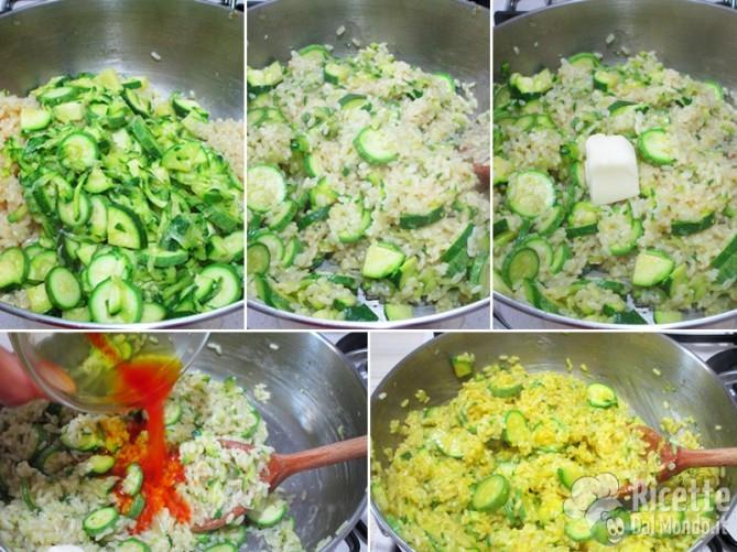 Aggiungete zucchine e zafferano