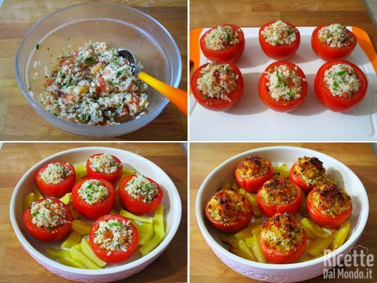 Cuocere i pomodori ripieni con le patate