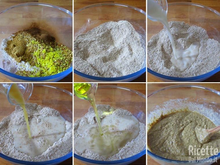 Mescolare gli ingredienti secchi, poi aggiungere i liquidi