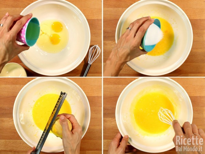 Lavorare gli ingredienti liquidi: uova, olio e limone